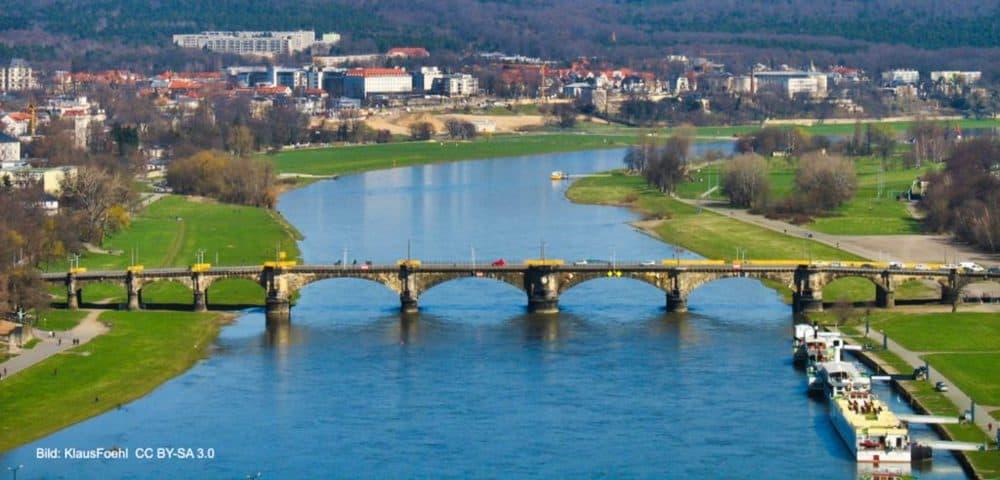 Albertbrücke Dresden Vogelperspektive